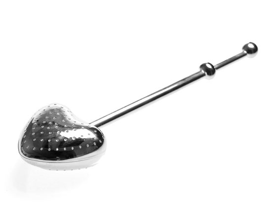 Push type tea infuser wand, heart shaped, silver plated