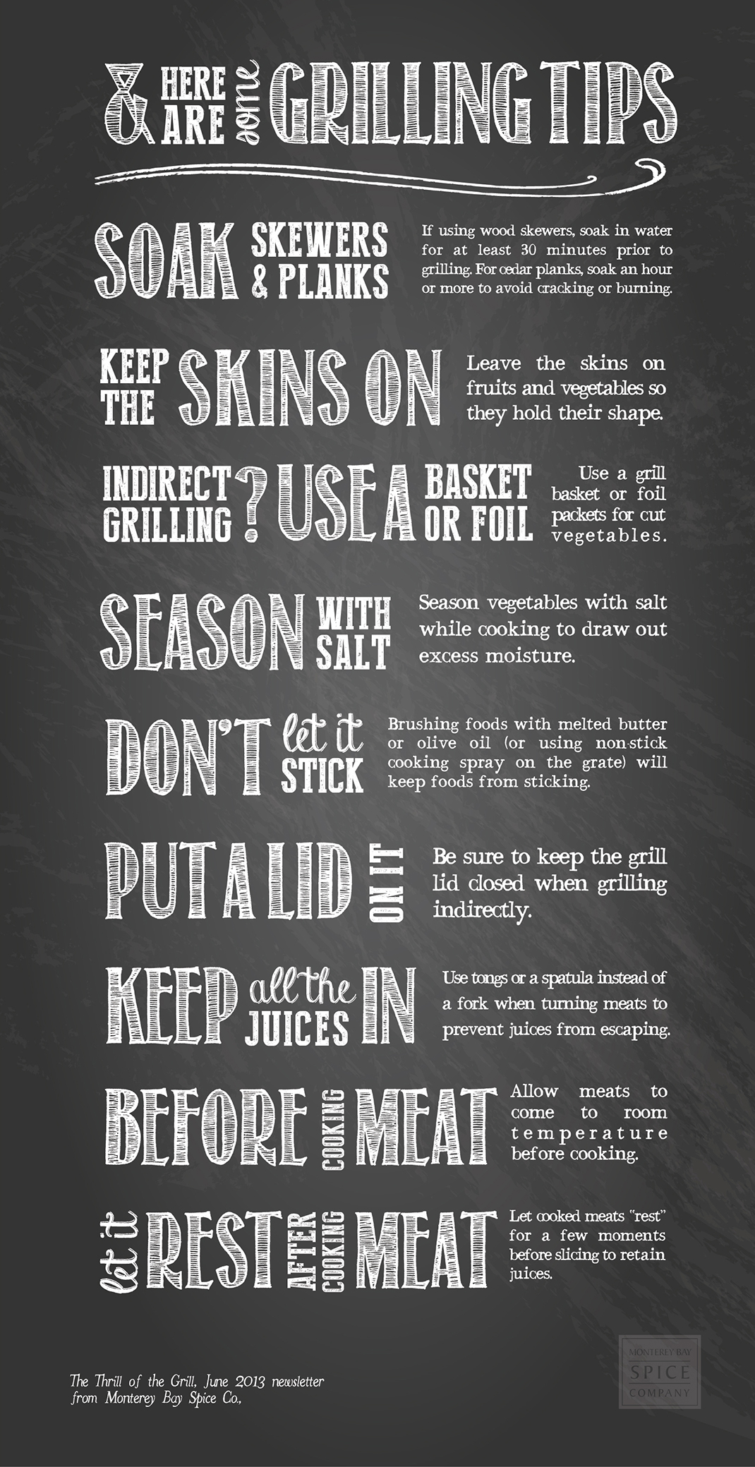 [ Info: Tips For Grilling ] ~ from Monterey Bay Spice Co