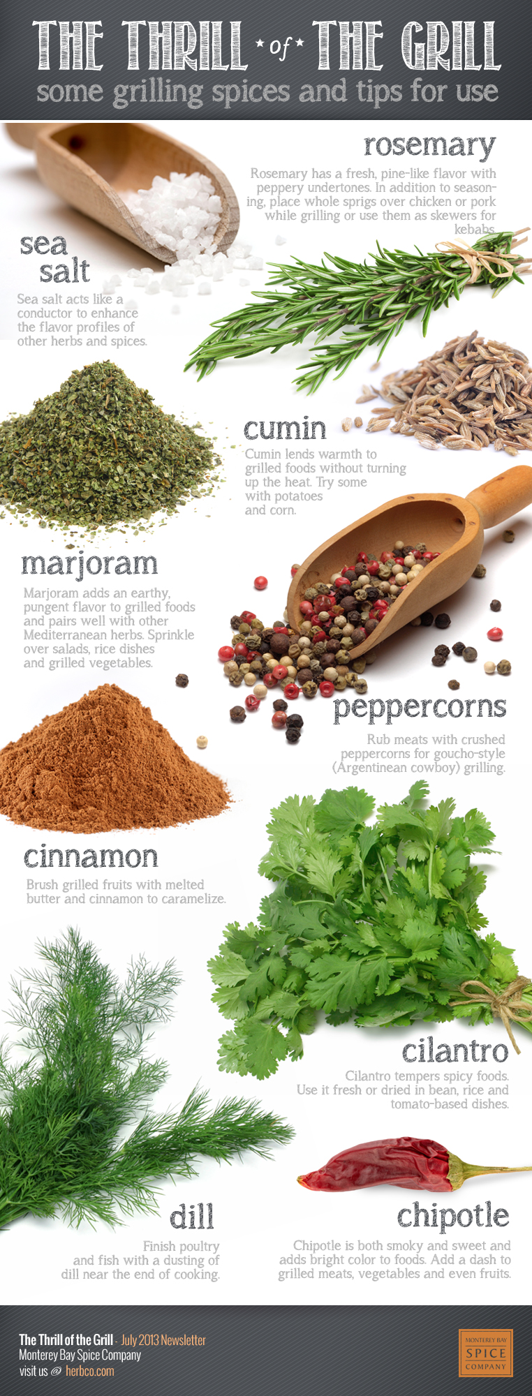 [ Info: Spices For Grilling ] Includes notes on: rosemary, cumin, marjoram, peppercorns, cinnamon, sea salt, cilantro, chipotle, and dill. ~ from Monterey Bay Spice Co