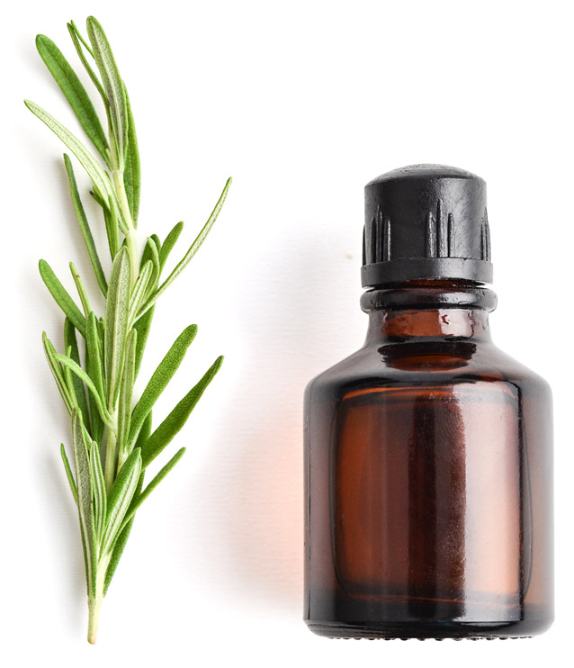 amber bottle with rosemary