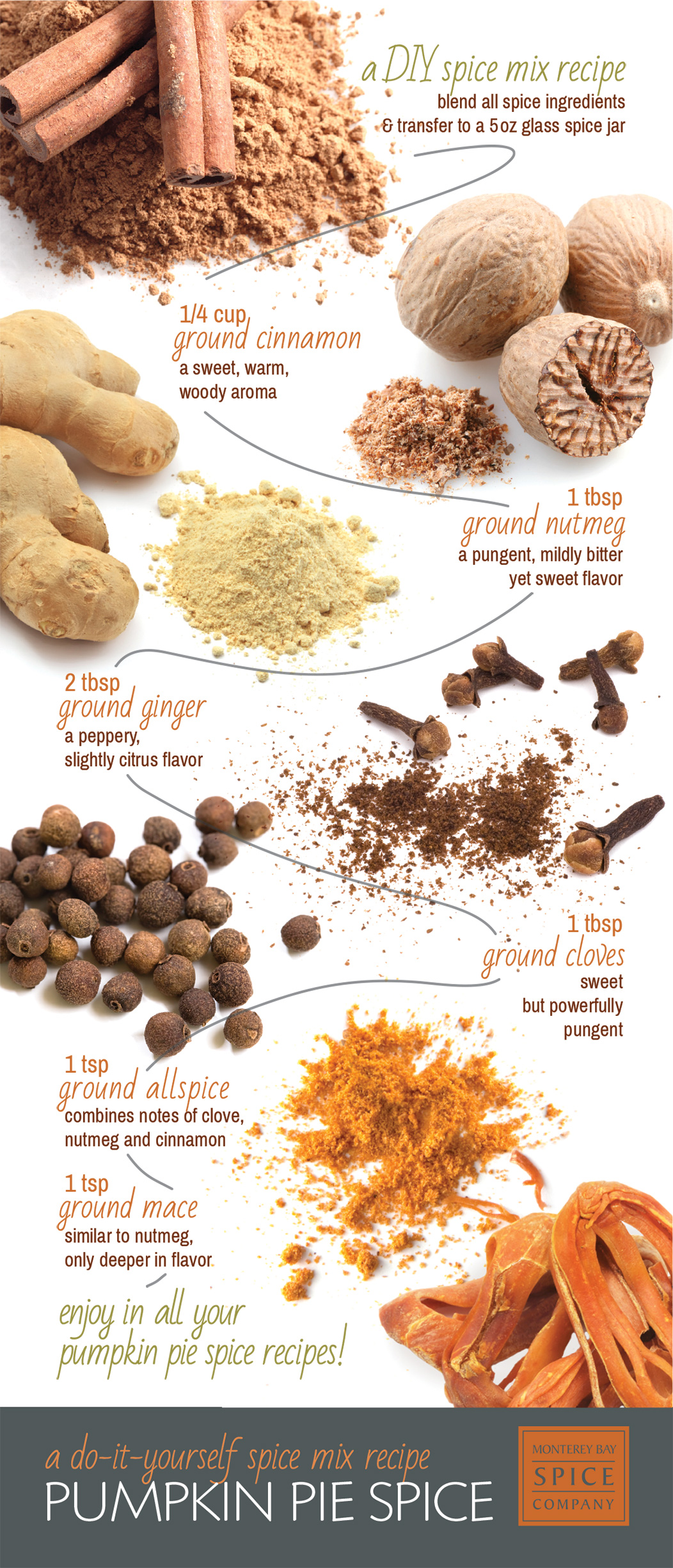 [ Infographic: Pumpkin Pie Spice Mix Recipe ] ~ from Monterey Bay Spice Company