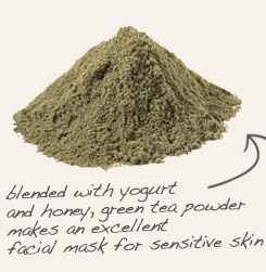 [ green tea powder tip: Mix bentonite clay with powdered green tea and a bit of water to make a spa quality facial mask. ~ from Monterey Bay Spice Company ]