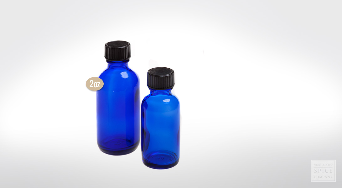 2 oz. cobalt blue bottle w/lid