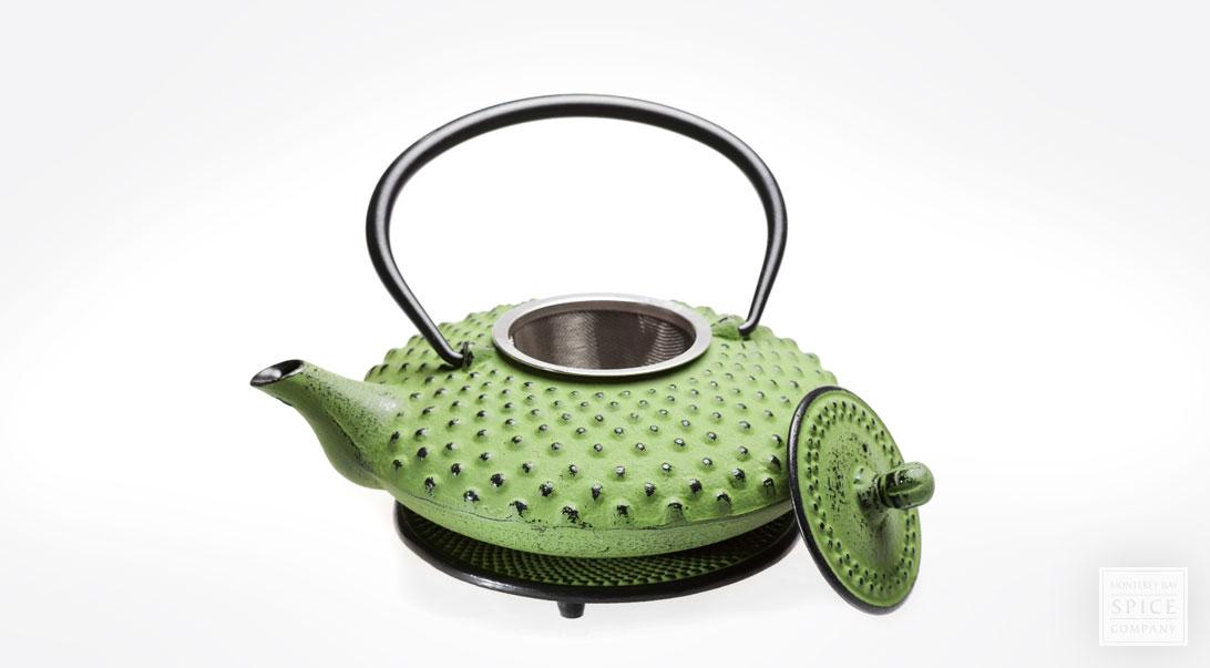 Cast Iron Tea Pot Lime Green From