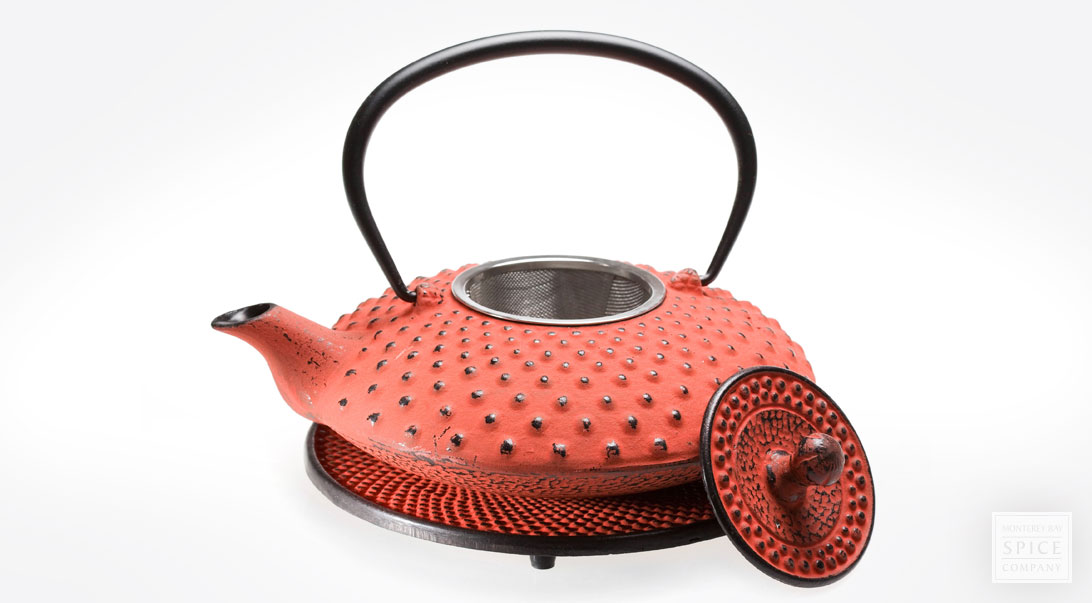 Cast Iron Teapot With Matching Trivet Red 27 Oz