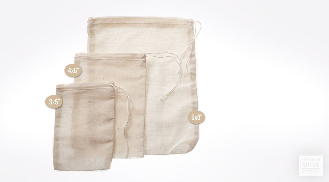 Muslin Herb Bag (3 x 5 in) - Cotton Drawstring