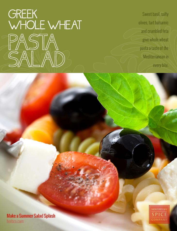 [ Recipe: Greek-Style Whole Wheat Pasta Salad ] ~ from Monterey Bay Spice Co