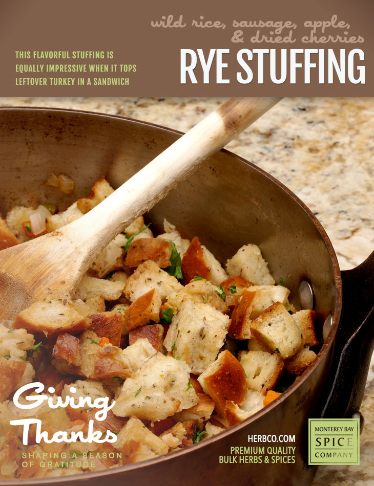 [ Recipe: Rye Stuffing ] ~ from Monterey Bay Spice Co